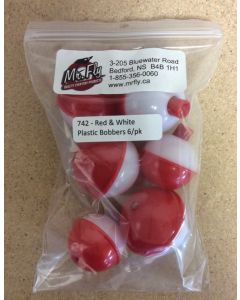 Assorted Red & White Plastic Bobbers ~ 6 per pack