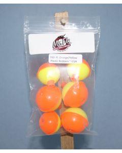 Assorted Fluorescent Orange & Yellow Plastic Bobbers ~ 6 per pack