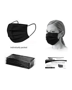 Bodico 3-Ply Disposable Mask Individually Wrapped - Black ~ 50 per box