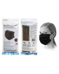 Disposable 3-Ply Face Masks - Black ~ 10 per pack
