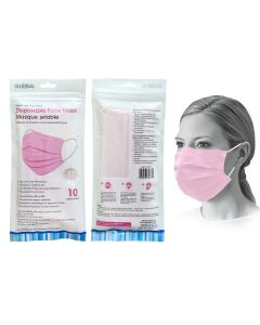 Disposable 3-Ply Face Masks - Pink ~ 10 per pack