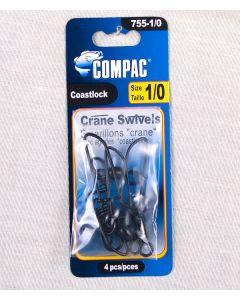 Compac Black Crane Swivels with Coastlock Snap ~ Size 1/0