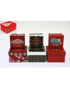 Christmas Small Square Gift Boxes ~ 2 per set