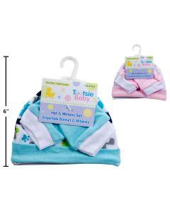 Tootsie Baby Cotton New Born Hat + Mitten Set