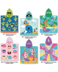 Kid's Fun Velour Hooded Towels ~ 6 assorted