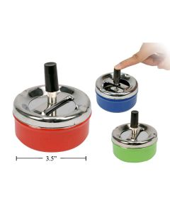 """Metal Ashtray with Push Button Clean-Out ~ 3.5"""""""