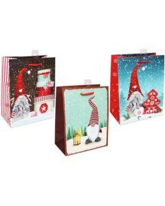 Christmas Medium Gift Bag ~ Gnomes