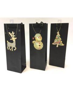 Christmas Bottle Gift Bag ~ Pendants on Black