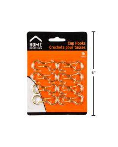 """Metal Cup Hooks 1.5 """" ~ 16 per pack"""
