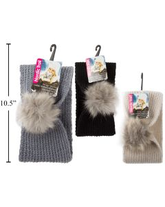 Ladies Knitted Headband with Faux Fur