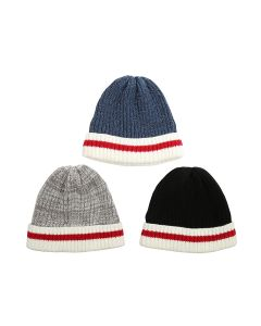 Youth Knitted Beanie Hat with Cuff & Red Stripe