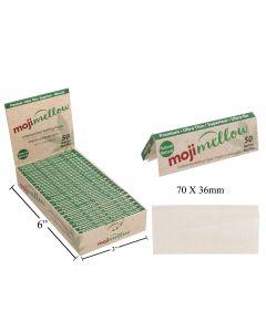MojiMellow Natural Unbleached Rolling Paper - 50 per pack - 70 x 36mm ~ 25 packs per case