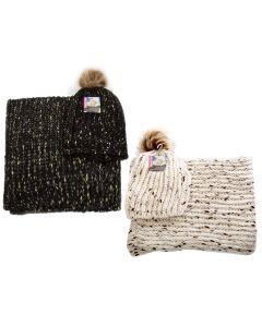 Ladies Knitted Hat & Scarf Set