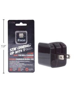 iFocus Dual Port USB Wall Charger - 2.4A/5V ~ Black