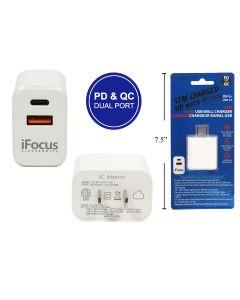 iFocus Dual USB Wall Charger ~ USB-A & USB-C