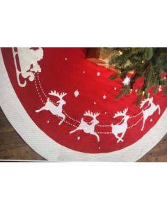 "Christmas Tree Skirt with Santa & Sleigh ~ 35"" Diameter"