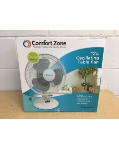 "12"" Oscillating Table Fan ~ White"
