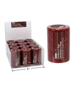 """Pillar Candle - 2"""" x 3"""" - Cranberry & Sage ~ 12 per display"""