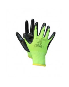 Polyester Nitrile Palm Glove with Knitted Back - High Visibility