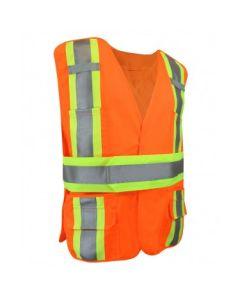 Fluorescent Orange Polyester Safety Vest w/Pockets