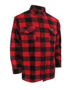 Red Plaid Fleece Shirt with Buttons {Doeskin Shirt}