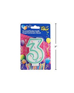 """Birthday Candle ~ Double Sided Number """"3"""""""
