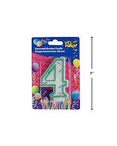 """Birthday Candle ~ Double Sided Number """"4"""""""