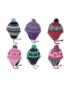 Kid's Knitted Lined Hat with Ear Flap