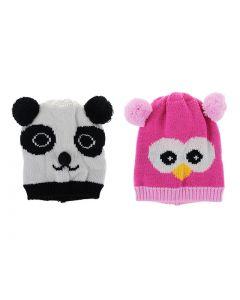 Children's Owl / Panda Pom Pom Ears Hat