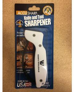 AccuSharp Knife & Tool Sharpener ~ White w/Black Finger Guard