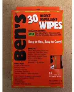 Ben's Mosquito Wipes - 30% Deet Wilderness Formula ~ 12 wipes per pack