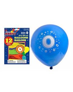 """12"""" Round Balloons - Number 0 ~ 12 per pack"""
