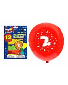 """12"""" Round Balloons - Number 2 ~ 12 per pack"""