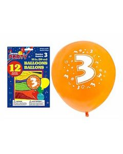 """12"""" Round Balloons - Number 3 ~ 12 per pack"""