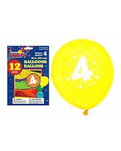 """12"""" Round Balloons - Number 4 ~ 12 per pack"""