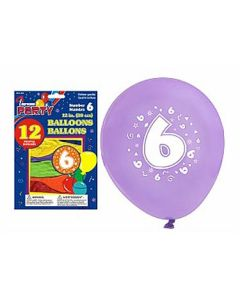 """12"""" Round Balloons - Number 6 ~ 12 per pack"""