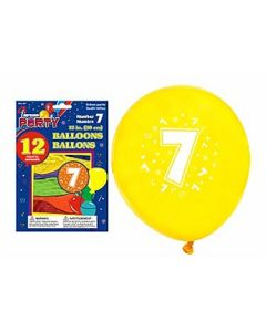 """12"""" Round Balloons - Number 7 ~ 12 per pack"""