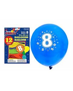 """12"""" Round Balloons - Number 8 ~ 12 per pack"""