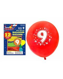 """12"""" Round Balloons - Number 9 ~ 12 per pack"""