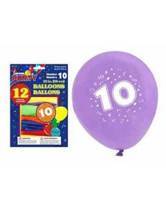 """12"""" Round Balloons - Number 10 ~ 12 per pack"""
