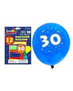 """12"""" Round Balloons - Number 30 ~ 12 per pack"""