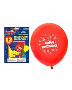 "12"" Round Balloons - Happy Birthday ~ 12 per pack"