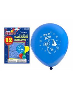 """12"""" Round Balloons - Blue - IT'S A BOY ~ 12 per pack"""
