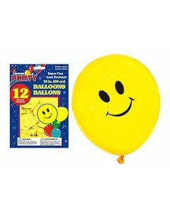 """12"""" Round Balloons - Yellow w/Smiling Face ~ 10 per pack"""