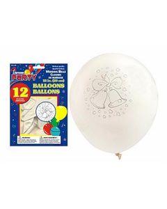 "12"" Round Balloons - White - Wedding Bells ~ 12 per pack"