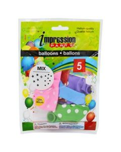"""12"""" Round Balloons - Assorted Colors with Stars & Dots ~ 5 per pack"""