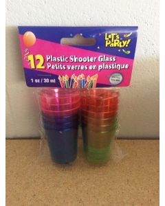 Colored Plastic Shooter Glasses - 1oz ~ 12 per pack