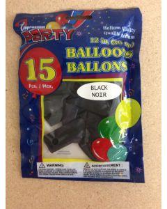 "12"" Round Balloons - Black ~ 12 per pack"