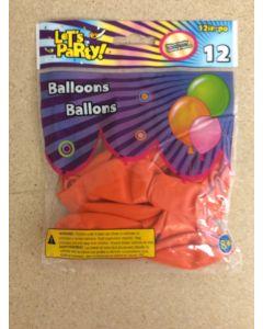 "12"" Round Balloons - Orange ~ 12 per pack"
