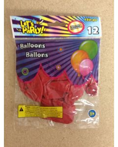 """12"""" Round Balloons - Red ~ 12 per pack"""